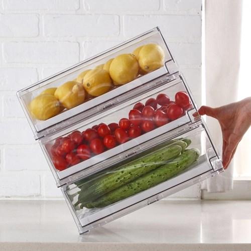 [리본제이]리메이크 모듈형 냉장고 서랍 M+M 2P세트