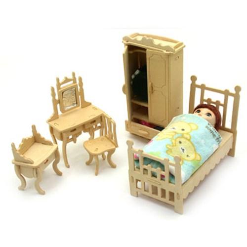 나무모형조립인형가구침실세트