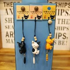 wood 고양이 핸드폰줄 3type - 일본직수입