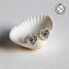 마카사이트 하트 귀걸이 marcasite love earring
