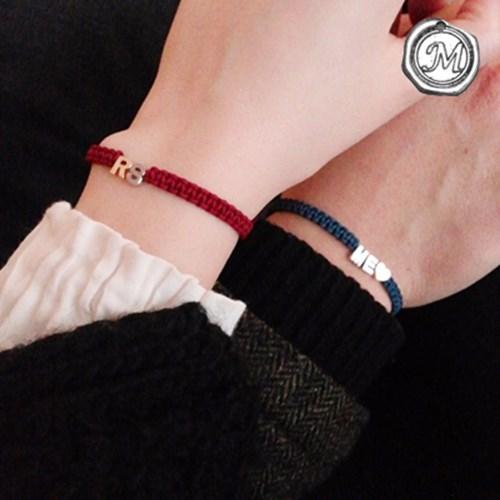 이니셜 커플 팔찌(15colors,기념일 선물 추천)