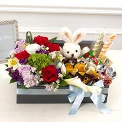FN2316 꽃박스+인형+초콜릿(예뻐예뻐)