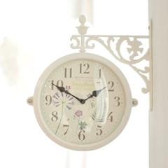 꽃향기 가득한 양면시계(화이트)