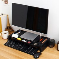 컴퓨터 모니터선반(모니터받침대,데스크정리) 200 블랙