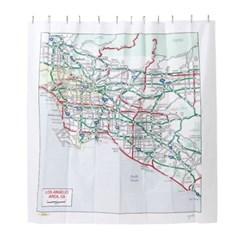 Los Angeles, CA Map Shower Curtain 로스엔젤레스 맵 샤워커튼