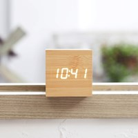 큐브형 우드네추럴 LED 알람시계