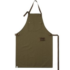 #AA1415 canvas suede leather apron (Khaki)