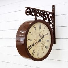 클래식 양면시계_브라운