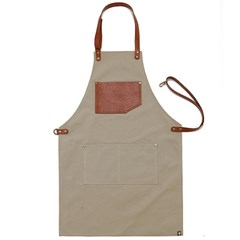 #AA1512 canvas leather string apron (Light brown)