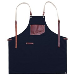 #AA1516 roco real cow leather apron (Navy)