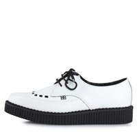 [T.U.K] A8468 White Leather Pointed Toe Low Sole Creepers