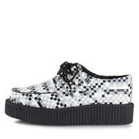 [T.U.K] A8580 Black & White Leather Low Sole Creeper