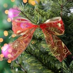 [크리스마스장식]스칼렛 매쉬리본 6P