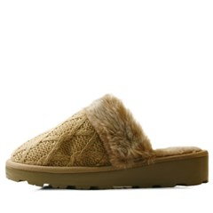 국내생산 Chain pattern knit fur slippers_KM14w197