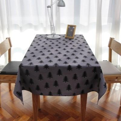 그레이 미니 트리 코튼 테이블 커버
