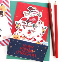 크리스마스 팝업카드 - 레드 눈사람