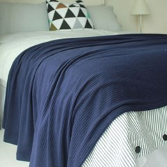 Soft Knit Blanket & Bedrunner-navy(니트 블랑켓&베드러너-네이비)
