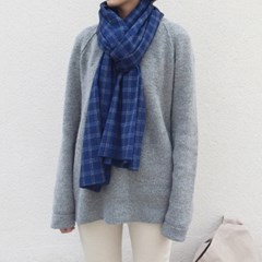 Easy Plaid Muffler (BLUE)