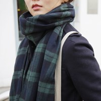 Easy Plaid Muffler (GREEN)
