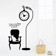 jkc058-스탠드 시계와 고양이_그래픽시계