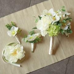 크림 프렌치 부케+부토니에+꽃팔찌set
