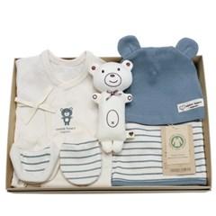 [출산선물]오가닉 블루베어 신생아 선물세트