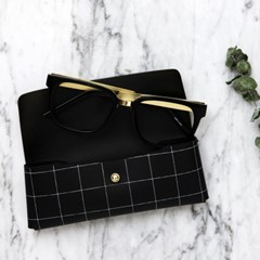 A.CHECK EYEGLASSES CASE_BLACK