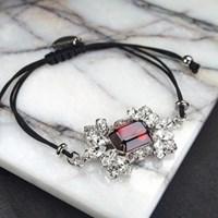 Crystal Blossom Ruby Knot Bracelet