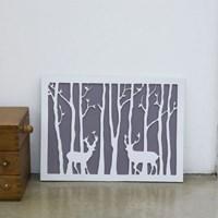 내츄럴 숲속의 사슴 양각 포스터 액자-L사이즈