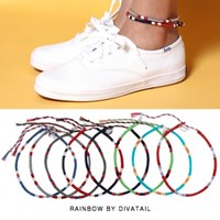 [RAINBOW발찌]Stripe Color Mix Misanga Anklet (택2)