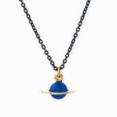 Small Planet Necklace - Blue agate/Oxi chain