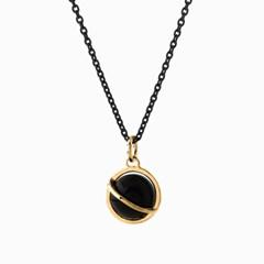 Medium Orbit Necklace - Black onyx/Oxi chain