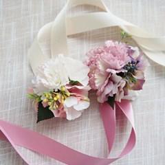 브라이덜샤워 꽃팔찌-수국앤카네이션