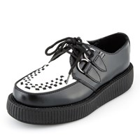 [T.U.K] V6807Black and White Leather Viva Low Sole Creepers