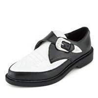 [T.U.K] A8900Black and White Western Buckle Jam Shoe