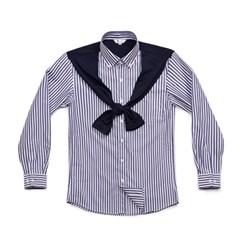 #AS1713  cardigan line striped shirts navy