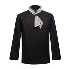 #AJ1459 scarf slim chef jacket black - hidden button