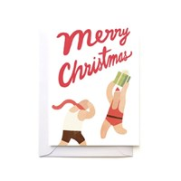 WRESTLERS CHRISTMAS Card