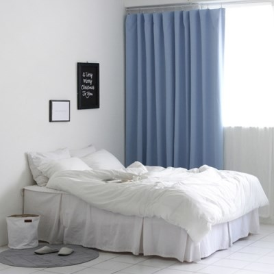 [Curtain] 3중 솔리드 암막커튼(블루)
