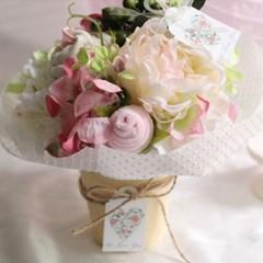 오가닉 핑크 아기옷화분(오가닉 상하내의세트+아가양말+워시타올)