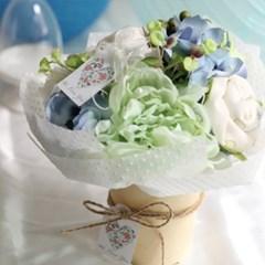 오가닉 블루 아기옷화분(오가닉 상하내의세트+아가양말+워시타올)