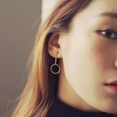 gold bar circle earring