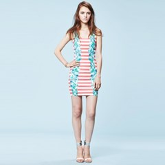 [sweet180]CRYSTAL STRIPE FITTED DRESS