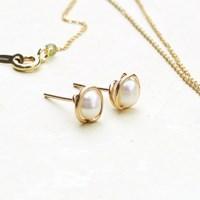 담수진주, mini vintage pearl 이어링