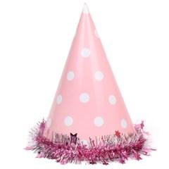파스텔 도트 고깔모자(핑크)