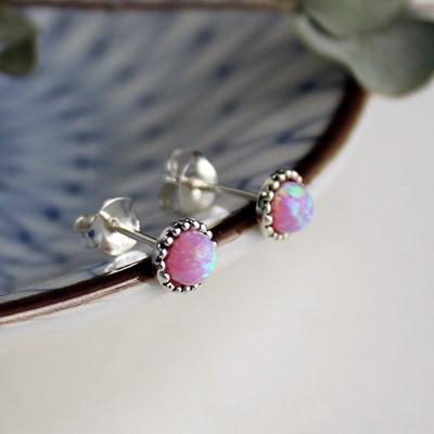 핑크 오팔 콩알 귀걸이(10월탄생석)pink opal bean earring