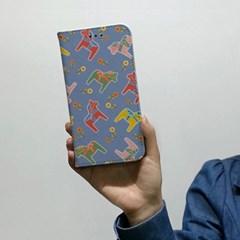 [이니셜/다이어리] 빈티지목마/패턴퍼플 (For 애플/삼성)