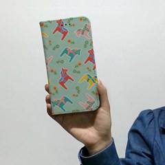 [이니셜/다이어리케이스] 빈티지목마/패턴그린 (For 애플/삼성)