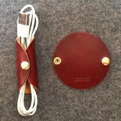 [이탈리아베지터블가죽] 이어폰, USB 케이블홀더(브라운)