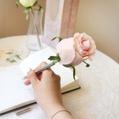 pink tiny rose flower pen